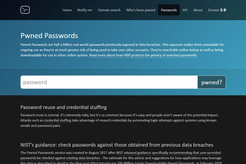 「Pwned Passwords」のページ